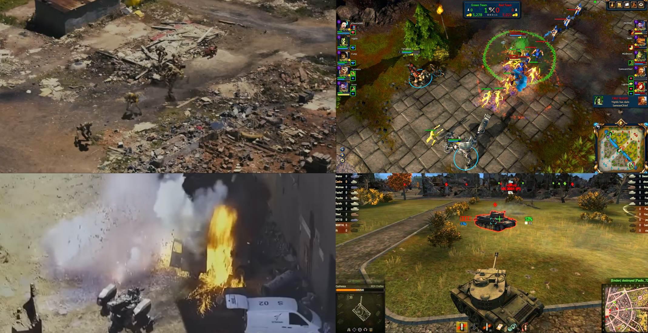 Левый верхний угол – «Район № 9». Правый верхний угол – «World of Warcraft». Левый нижний угол – «Робот по имени Чаппи».