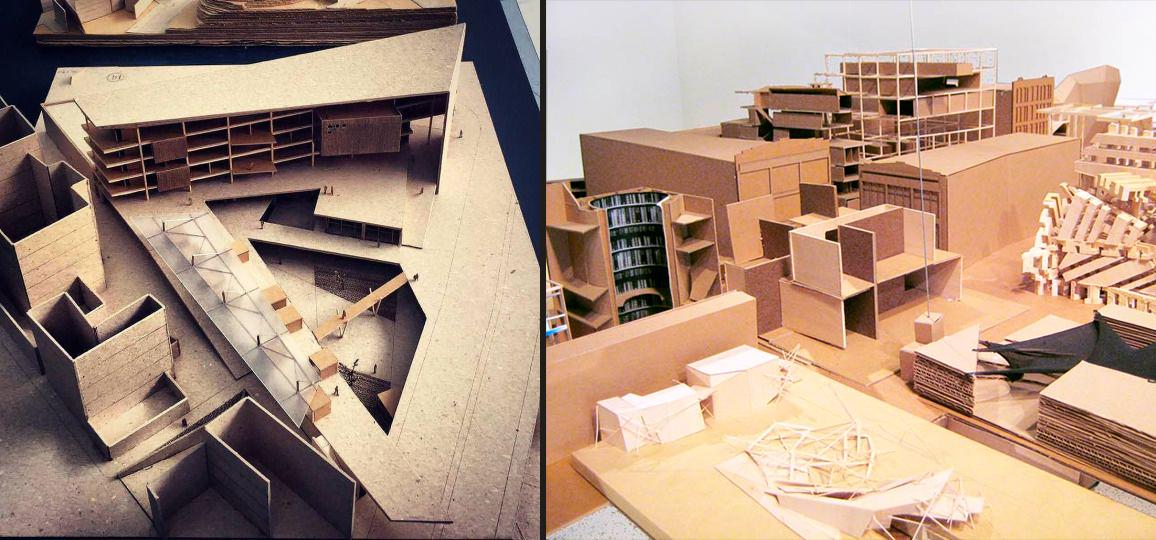 Учебные макеты из картона, показывающие массы и пространства - хороший способ размышлений. Такие макеты легко видоизменят