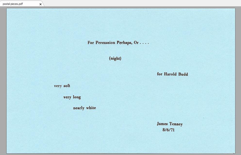 из цикла дж. тенни postal pieces, в котором тексты (записанные где требуется, нотами, или буквами) помещены на почтовых к