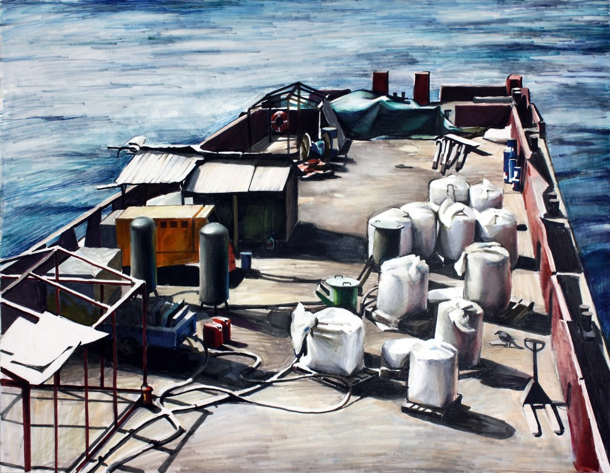 Воронья лодка (2013),30 x 40 см; бумага, маркеры.
