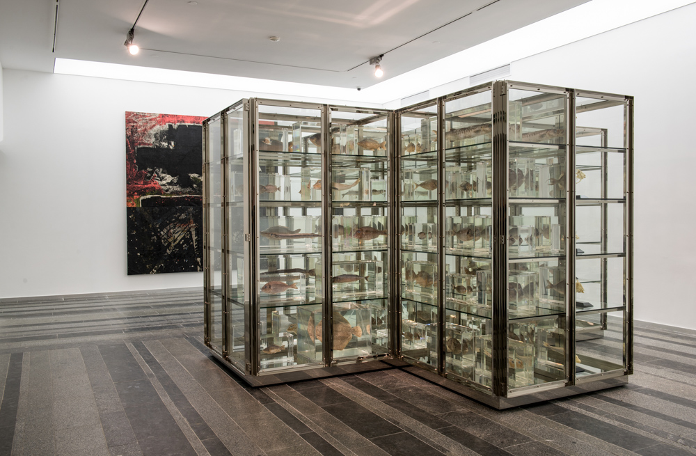 Damien Hirst. Here Today, Gone Tomorrow, 2008. Glass, stainless steel, fish, fish skeletons, acrylic, MDF, paint, formald