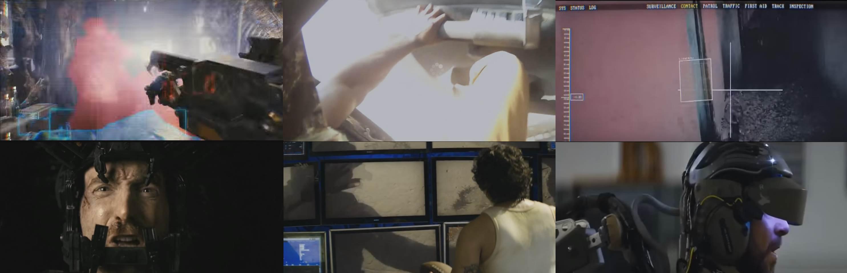 Слева направо: «Район № 9», «Элизиум: Рай на Земле», «Робот по имени Чаппи». Персонаж на центральном кадре снизу произнос