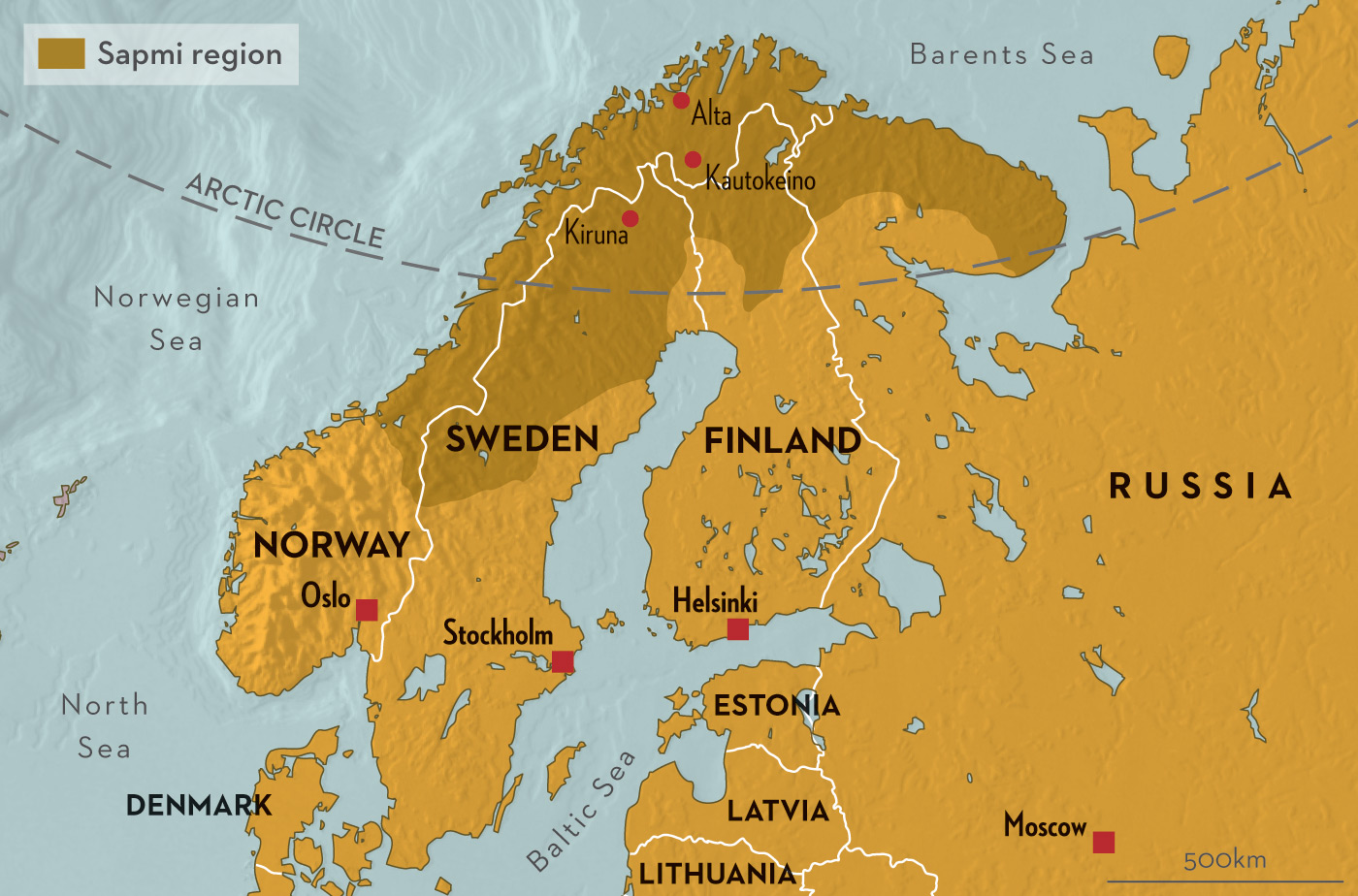 Карта Лапландии (Sapmi)