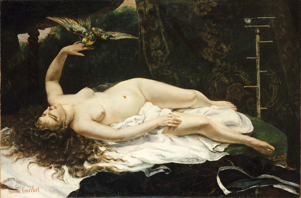 «Женщина с попугаем». Густав Курбе. 1866