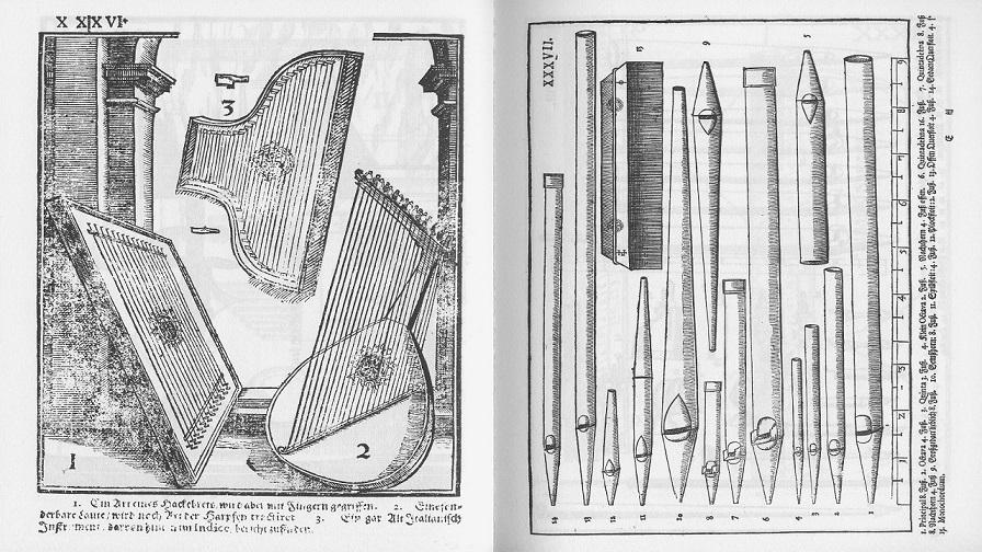 Одна из иллюстраций Theatrum Instrumentorum seu Sciagraphia, приложения к Syntagma Musicum, трактата Михаэля Преториуса.