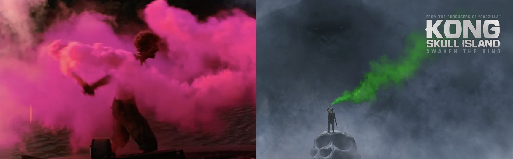 "Слева ""Апокалипсис сегодня"", справа ""Конг: Остров черепа"""