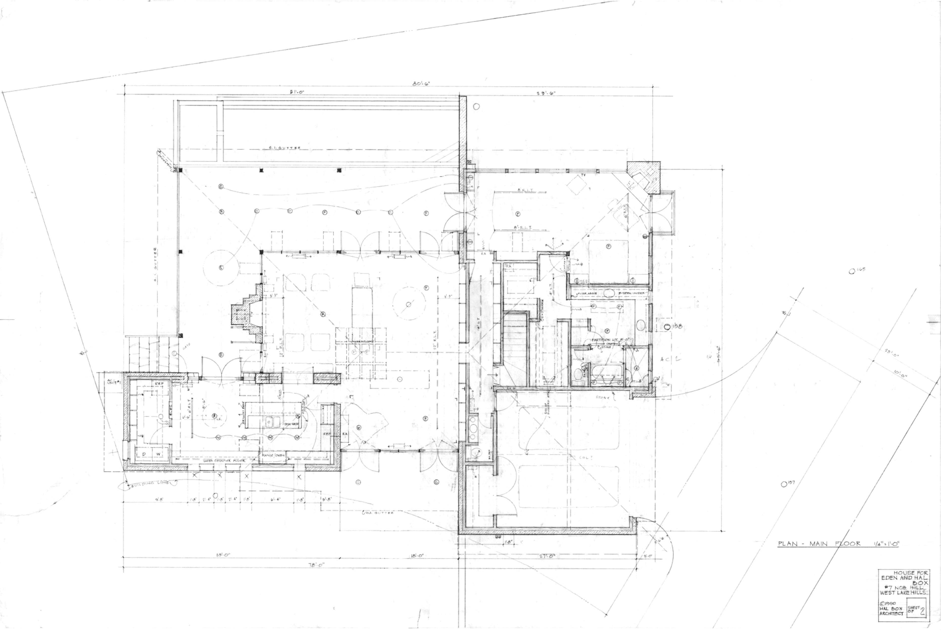 Рабочие чертежи второго варианта плана Дома на Ноб-Хилл, который не был осуществлен, 1991