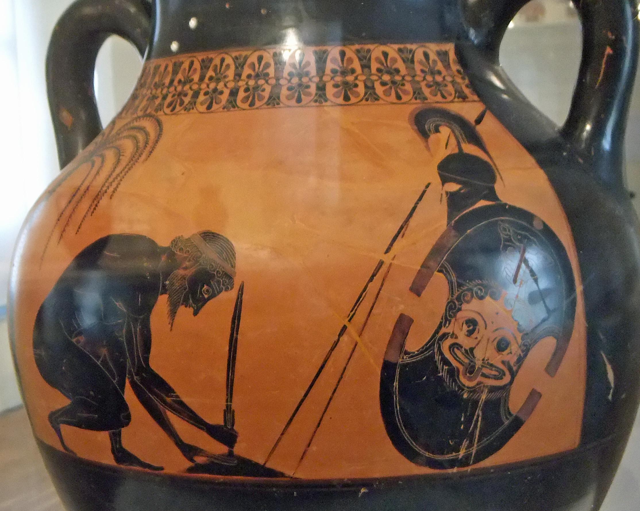 Греческая ваза, рисунок на которой изображает самоубийство Аякса
